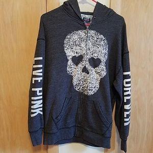 Live pink forever skull hoodie